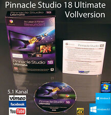 Pinnacle Studio 18 ULTIMATE VERSIONE COMPLETA BOX + DVD Blu-Ray 3d, 4k VIDEO SOFTWARE NUOVO