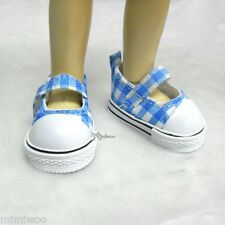 Yo-SD 1/6 Bjd Dollfie Leeke Doll Mary Jane Denim Maryjane Shoes Checker BLUE