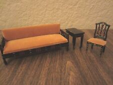 Dollhouse Furniture Miniature Asian Inspired Sofa Chair Table Painted Lot of 3
