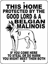 "BELGIAN MALINOIS WARNING DOG  ALUMINUM SIGN VINYL GRAPHICS 12"" X 9""  GLBM"