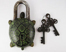 Vintage Tibet Buddhist Style Turtle Tortuoise Brass Puzzle PadLock 2