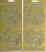 STAINED GLASS CIRCLES - BUTTERFLY & SWAN GOLD PEEL OFF STICKERS - 2 SHEETS