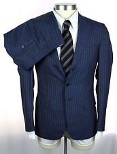 NWT ISAIA Navy Stripe Super 150's 2Ply Flat Front Suit 46 36 36R $3895 +Hanger