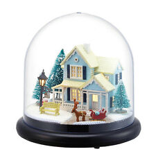 Mini Glass DIY Wooden Dollhouse Kit all Furniture&LED light / Music Box Winter