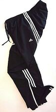 Men's * ADIDAS %100 NYLON Ext. Lined Striped Zip Leg Athletic TRACK PANTS - SZ S
