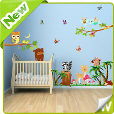 Woodlands Animali Adesivi Murali Gufo Giungla Zoo Nursery Bambino Kids Room ARTE Decalcomanie