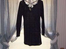 No Comment sweater dress black sparkly long sleeve active black cheap L Bx 200