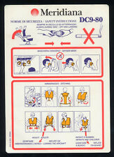 MERIDIANA Safety Card B DC9-80 old logo memorabilia no Alitalia sc653 ax