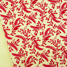 Tole Christmas ~ Berries Pine Cardinal Red Fabric / quilting beige floral Moda