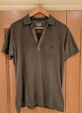 DIESEL Khaki Green Vintage Washed Muscle Polo Shirt -(L) (New w/o Tags) -RRP £75