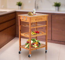 New 4 Tier Rolling Wood Kitchen Trolley Cart Storage Drawer Stand Rack Utility