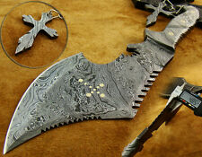 SUPERB CUTOM HAND MADE FULLY FORGED DAMASCUS STEEL KNIFE HUNTING AXE (CS-2