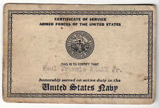 1948 UNITED STATES NAVY USN Naval CERTIFICATE SERVICE Paul Keane MILITARY