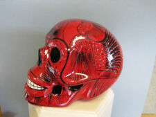 Handpainted  DAY OF THE DEAD  Dia de los Muertes Ceramic Skull Red Large Mexico