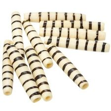 Natural Bone Hairpipe Tube Beads With Brown Stripes 35mm - Pack of 10 (E81/6)