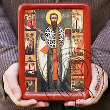 St Basil the Great Icon byzantine gesso art orthodox catholic religious gifts