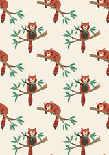 Fat Quarter Red Panda on Natural 100% Cotton Quilting Fabric Lewis and Irene