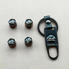 Black Mugen Logo Wheel Tire Valve Stem Air Caps With Key Chain Wrench