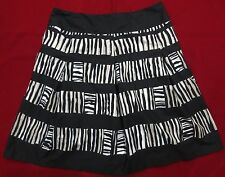 Talbots Black Beige White Tribal Print A-Line Skirt Large/Extra-Large