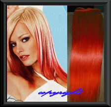 ✄ 100 % Remy Echthaar Effekt Clip in Extension 50 CM ✄ ROT✄  NEU