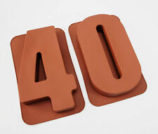 "LARGE 12"" SILICONE NUMBER MOULDS 40 CAKE TINS BAKING PAN BIRTHDAY 40th MOLD"