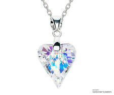 Aurore Boreale Heart Pendant Necklace SWAROVSKI ELEMENTS Crystals, Silver
