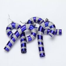 """5.5"""" Glittering Candy Canes Christmas Ornaments Pendants 4 In A Pack Blue"""