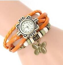 VINTAGE RETRO BEADED BRACELET LEATHER WOMEN WRIST WATCH - BUTTERFLY ORANGE