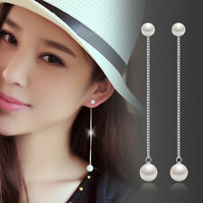 Women's Elegant 925 Sterling Silver Pearl Drop/Dangle Long Chain Tassel Earrings