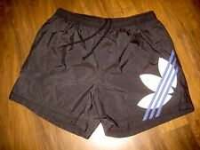 Vtg 80s ADIDAS Gray TREFOIL Logo Mens XL Soccer Running Nylon athletic Shorts