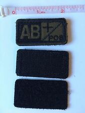 Tactical Blood Type Embroidered Velcro Patch: AB Positive  (AB+)