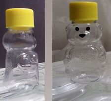 2oz Honey Bear bottles clear plastic (not cloudy) lid  with seal Bee Keeping Pet