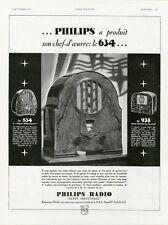 """""""PHILIPS RADIO""""Annonce originale entoilée L'ILLUSTRATION 09/09/1933 30x39cm"""