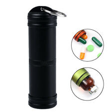 Waterproof Pill Box Case Container Metal Capsule Bottle Keyring Keychain Outdoor