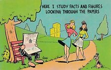 POSTCARD   COMIC   Here I study facts and figures....
