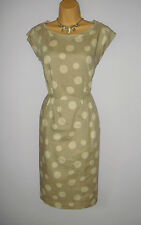 STUNNING WHITE STUFF DRESS SIZE 14 DOT PRINT LINEN COTTON MIX DRESS
