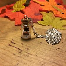 Necklace snow globe snowman bottle glitter Christmas Xmas gift handmade cute