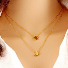 Woman Fashion Gold and Silver Plated Chain Star Pendant Crescents Moon Necklace