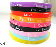 10 Children little girls Silicone bracelets Wristbands Party gift Birthday