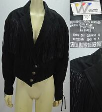 Wilson's Leather Jacket Western Fringe Women's Size Small Black