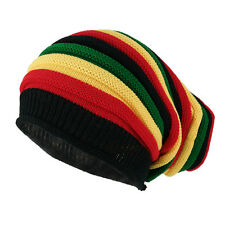 Ribbed Trim Rasta Striped Printed Extra Baggy Slouchy Long Beanie Hat
