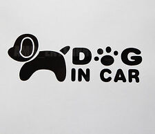 Dog in Car Decal Black Sticker Vinyl Badge for Fiat Grande Punto Evo Coupe Panda