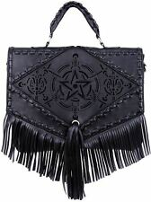 Restyle Boho Witch Laser Cut Pentagram Alchemical Fringe Occult Shoulder Bag