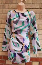WALLIS LILAC GREEN BLACK ABSTRACT PRINT LONG SLEEVE SHIFT SMOCK TEA DRESS L 14
