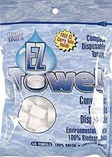 EZ Towel  New Durable Tube and Packaging, 50 Pieces 100% biodegradable rayon