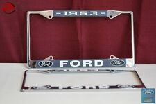 1953 Ford Car Pick Up Truck Front Rear License Plate Holder Chrome Frames New