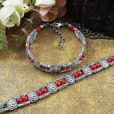 S01 Free shipping New Tibet silver multicolor jade turquoise bead bracelet