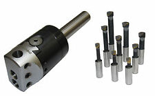 "RDG TOOLS 50MM BORING HEAD 3/4"" STRAIGHT SHANK + 9PC TOOLS MILLING LATHES CHUCK"