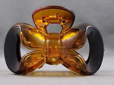 "Brown Amber Bow plastic 3.25"" long barrette hair accessory clip claw clamp teeth"