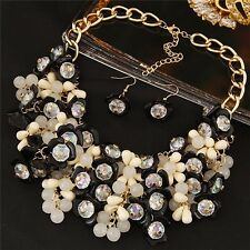 Chunky Resin Crystal Floral Bauble Necklace & Drop Earrings Set Fashion Jewelry